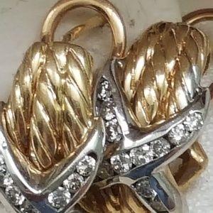 Jewelry - Estate  14k 2-tone gold 1.00ct diamonds earrings